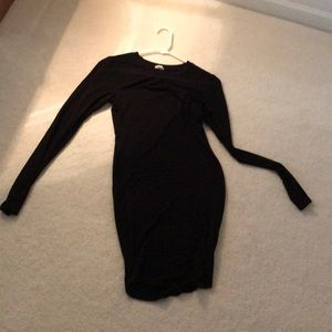 GARAGE BLACK LONG SLEEVE TIGHT FORM-FITTING DRESS
